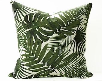 Palm leaf pillow cover - Green and Cream leaf pillow - Hawaiian pillow - Tropical pillow - Banana leaf pillow - Greenery pillow