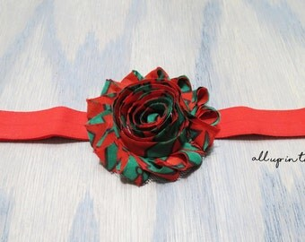 Christmas Headband - Green Headband - Holiday Headband - Green and Red Headband - Bow Headband - Baby Headband