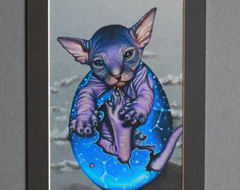 Birth of Bastet Sphynx Cat in Faberge Constellation Egg Small Print