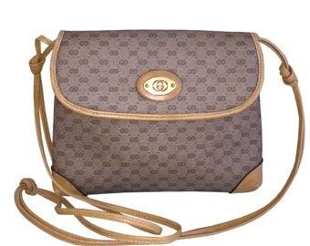 GUCCI Beige & Tan GG Logo Canvas Crossbody Bag