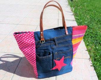 recycled pink, fuschia, yellow, jean designer tote bag Star
