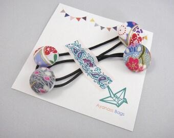 Japanese ponytail holders, set of 2, Cherry blossom, Blue