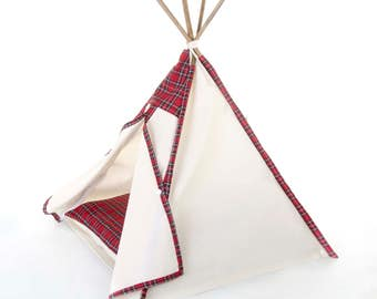 Pet teepee // Red tartan