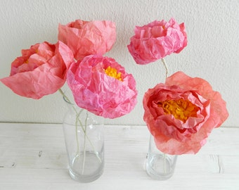 5 pieces of bright pink peonies, paper flower peonies, paper peonies, pink peony, handmade flowers