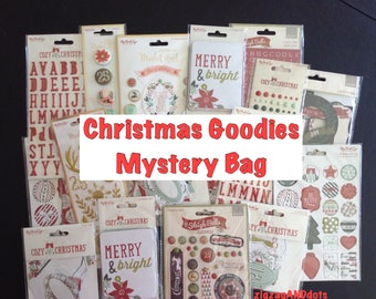 Christmas Goodies Mystery Bag:  Random Christmas Craft Embellishments, Tags, Stickers, Brads, Enamel, Rub-ons, Chipboard, My Mind's Eye