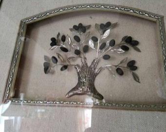 One of a Kind Hand Crafted Silvered Olive Tree Frame