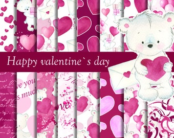 Valentines day digital paper, Love digital background, Valentines paper pack, Heart digital paper, teddy bear pattern, I love you paper