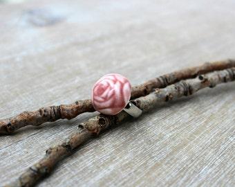 Pink flower ring, red rose ring, ceramic rose ring, silvery ring, ceramic flower ring, romantic rose ring, gift for her, romantic gift,