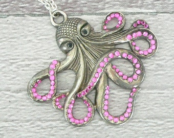 Pink & Silver Octopus Necklace, Cthulhu Necklace, Octopus Pendant, Cthulhu Pendant, Steampunk Necklace, Steampunk Jewellery