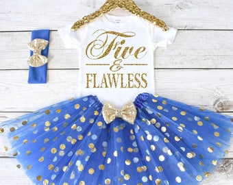 Five and Flawless. Girls Birthday Outfit. Tutu Set. Birthday Shirt. Birthday Tutu Outfit. Birthday Outfit Girl. 5th birthday. S5 5BD (ROYAL)