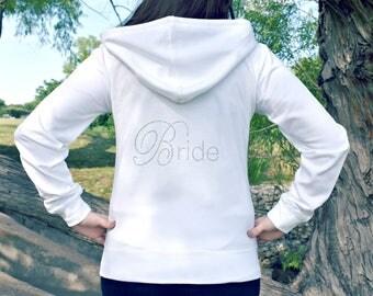 Bride Hoodie, Bride Rhinestone Hoodie, Bride Jacket, Wedding Jacket, Bridal Shower Gift, Wedding Hoodie