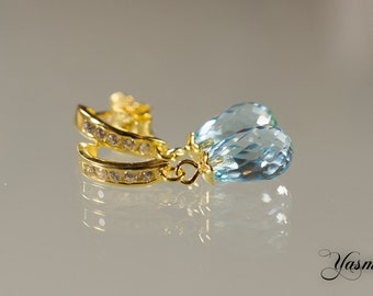 Faceted Topaz with cubic zirconia