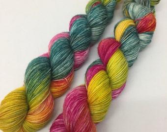 Hand Dyed Superwash Merino Nylon Sock Yarn, 50g, 'Living In The Jungle'