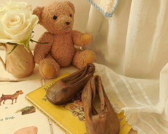 Darling little vintage leather baby shoes, antique baby shoes