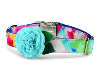 The Monet Bloom Dog Collar With Aqua Bloom, Flower Dog Collar, Girl Dog Collar, Girly Dog Collar