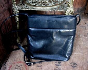 Tula Bag, Leather Bag, Vintage Bag, Vintage Purse, Vintage Handbag, Cross Body Bag, Vintage Tula, Black Leather Purse, Black Leather Bag