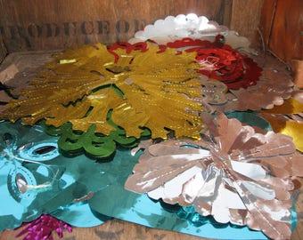 Foil Decorations, Foil Lanterns, Vintage Decorations, 1970s Christmas, Metallic Decorations, Pull Out Lantern, Foil Streamers, Foil Garlands