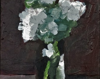 "White Flowers, Original Still Life Painting,  5"" x 7"", Free Shipping within USA"