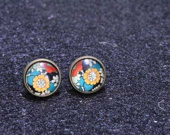 yellow red and blue Earring Studs, flower earrings, stud earrings, retro earrings, floral earrings, nickle free earrings, glass dome earring