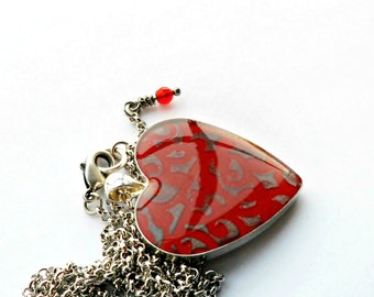 Silver Red and Pewter Embossed Heart Pendant