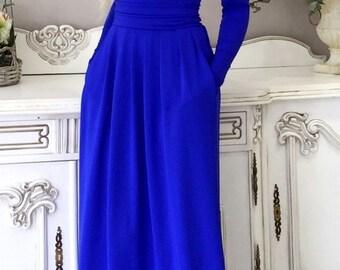 Royal Blue Maxi Women Dress  Round Neckline Long Sleeves Pockets
