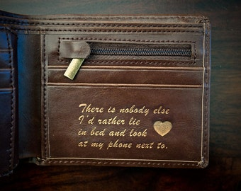 Valentines Day Gift for Him - Mens Leather Wallet - Personalized Anniversary Gift