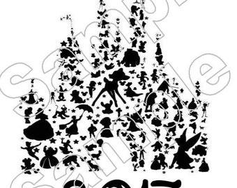 Disney Character Castle 2017 Iron On Shirt Transfer #1133