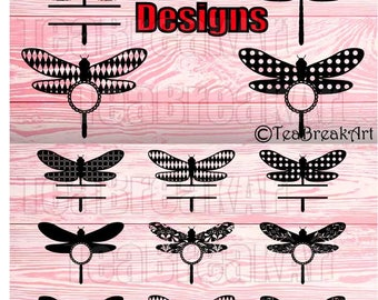 Dragonfly zentangle frame Cutting Files SVG PNG EPS dxf ClipArt Instant Download iron on heat transfer shirt decal flower pattern 647C