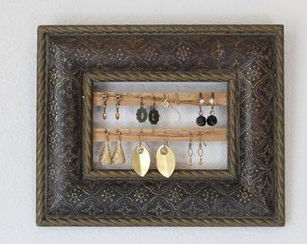 Wall Mount Jewelry Organizer | Hanging Earring Organizer | Wall Jewelry Organizer | Hanging Earring Holder | Vintage Framed Earring Hanger