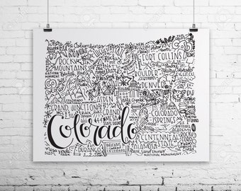 Colorado State Print- Hand Lettered Colorado State Print- Colorado Graduation Gift- Colorado Pride- Colorado Gift- 8x10 State Print
