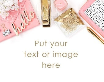 Styled Stock Photography Desktop / Background / Styled Stock Photography Desk / Pink and Gold / Social Media  / Mock-up / StockStyle-798
