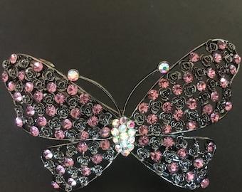 Filigree Gun Metal Crystal Butterfly Womens Hair Barrette Clip Hair Accessory Jewelry Piece