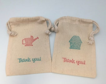 Gardening Party Favor Bag with Watering Can and Birdhouse Design: Muslin Drawstring Favor Bag