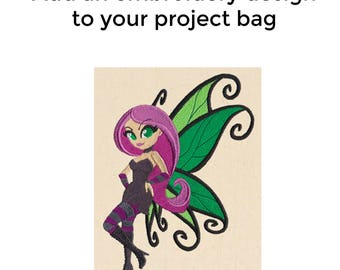 Add an Embroidery Design to Your Bag, Flighty Fairy, Knitting Project Bag, Sweater Project Bag, Sock Bag