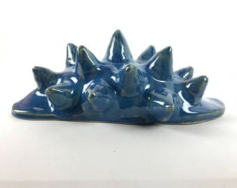 Hand Made Helios Sculpture Large Snail Shape with Blue Flowing Glazes