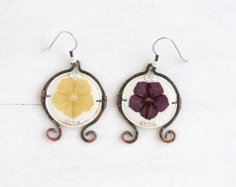 Phlox Earrings. Real Flower Earrings. Real Flower Jewelry. Vintage Earrings. Romantic Earrings. Copper Earrings. 925 Sterling Silver.