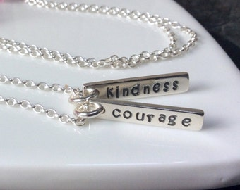 Personalised sterling silver bar necklace, hand stamped, name necklace, inspirational jewellery, birthday gift, friendship gift,