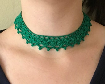 Beaded Lace Choker Handmade Crochet Necklace -  Metal Free - N41