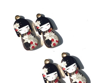 Black Kokeshi Doll Enamel Charms, Geisha Charms, Enamel Kokeshi Dolls, Geisha Doll Charms 4 pieces