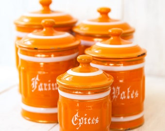 1930s French 5 Orange Enamel Canisters Set - Shabby Chic or Industrial Kitchen - Free Shipping Within the USA
