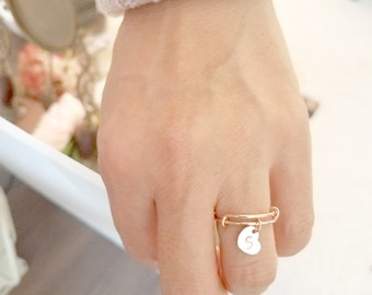 Graduation gifts,Personalized Bangle Ring, Rose Gold Ring, Heart Ring, Adjustable Ring Initial Ring, Personalized Ring, Bridesmaid Gift