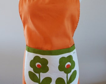 1960's Bright Orange Cotton Full Apron with Mod Green Flower Design on Pocket by Personality Made in Canada Never Worn