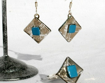 Ornament earrings ears and ring, glass fusing diamond silver and blue. Ring and earrings 925 Silver