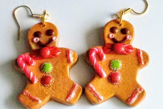 Gingerbread Man Earrings, Miniature Food Jewelry, Inedible Jewelry, Christmas Jewelry, Holiday Jewelry, Kawaii Jewelry, Candy Cane Jewelry