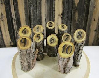 Rustic Wedding Table Numbers- Elm Log Table Numbers ~ Country Wedding Table Numbers, Rustic Wedding Decor ~ Summer Wedding