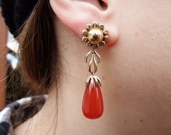 18k Diamond and Carnelian Antique Drop Earrings- Rose Cut Diamonds- 10.4 grams