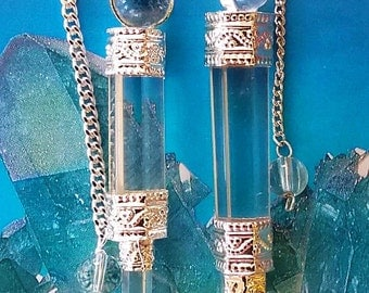 2 Large CRYSTAL QUARTZ Dowsing PENDULUM Divination Wands, with Crystal Quartz Point and 2 Velvet Storage Pouches