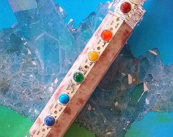 Large 6 - 7 Inch Stunning SUNSTONE and Silver Chakra Wand With Crystal Quartz Point, Amethyst, Lapis Lazuli, Turquoise, Carnelian