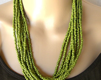 Green necklace, multistrand necklace for women, green statement jewelry, long beaded necklace for her, chunky necklace for everyday