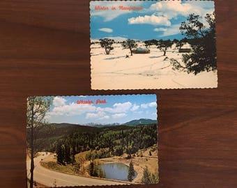 Vintage Postcards Wheeler Peak Northern New Mexico Winter Navajo Crownpoint set of 2 memorabilia travel Sixties 60s 1960s post card souvenir